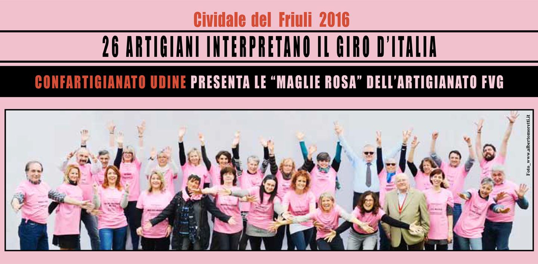 """Confartigianato Udine presenta le """"maglie rosa"""" dell'Artigianato FVG: 26 artigiani interpretano il Giro d'Italia."""